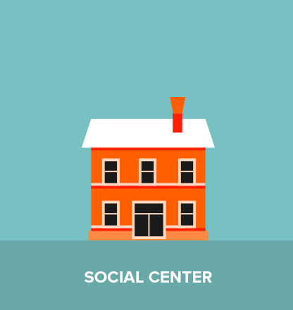 The social center: here you can find support and assistance.